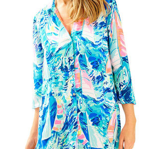 Lilly Pulitzer SPARKLING BLUE HEY BAY BAY Tunic